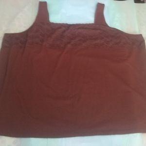 NWOT Liz&Me Brown Lace Tank Top - Size 5X